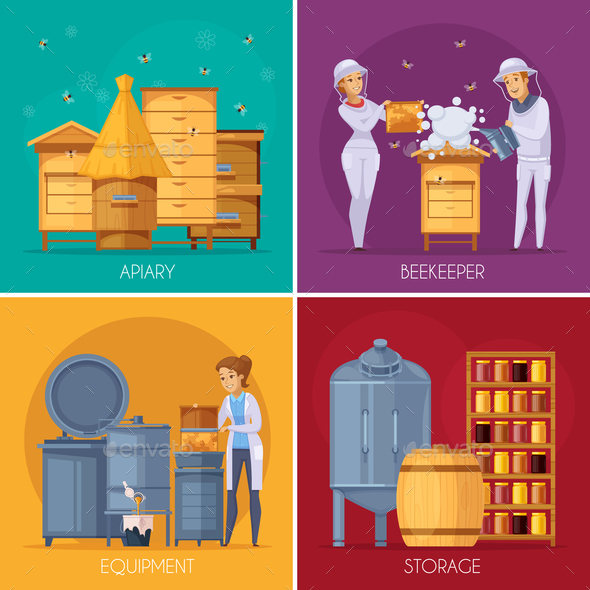 Apiary Honey Production Cartoon Concept - Food Objects