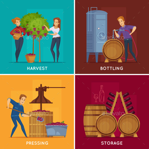 Winery Wine Production Cartoon Concept - Food Objects