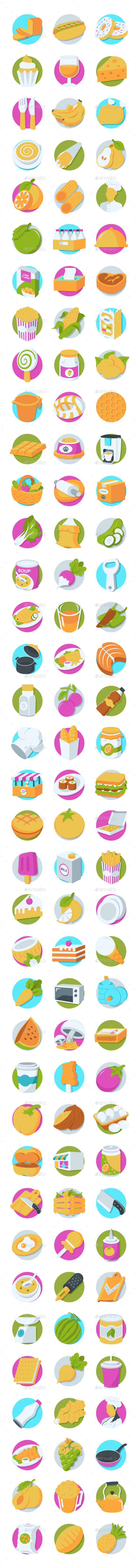 GraphicRiver 112 Food Perspective Icons 20749999
