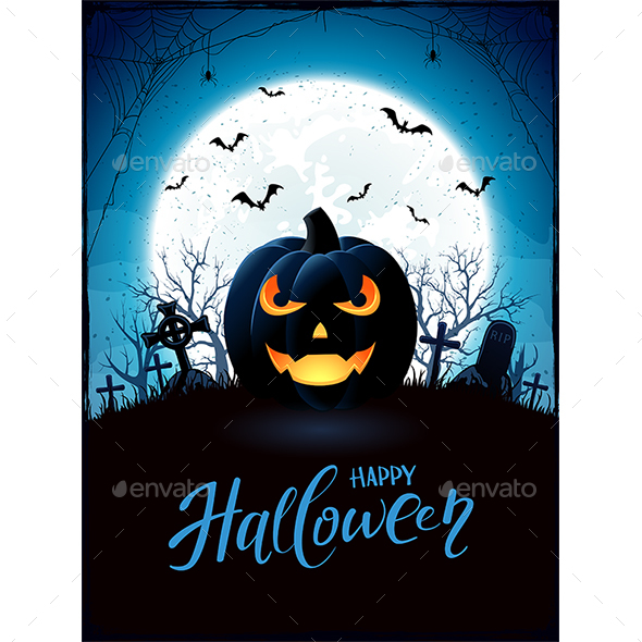 Halloween Theme with Jack O Lantern on Cemetery - Halloween Seasons/Holidays