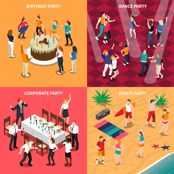 People At Party Isometric Design Concept - People Characters