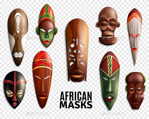 GraphicRiver African Masks Transparent Icon Set 20750036