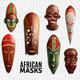 African Masks Transparent Icon Set