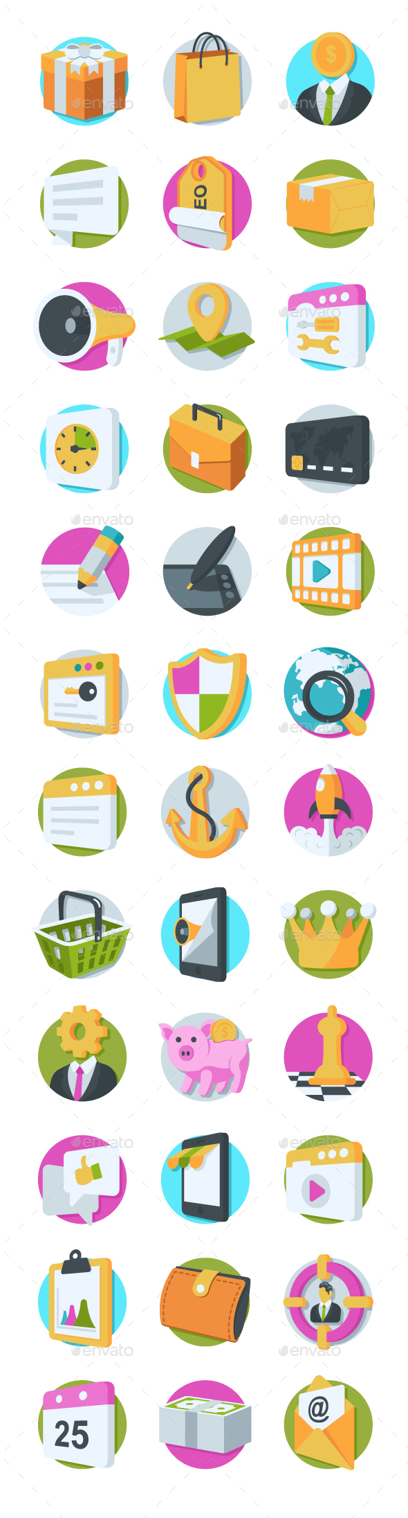 GraphicRiver 36 SEO and Marketing Icons 20750155