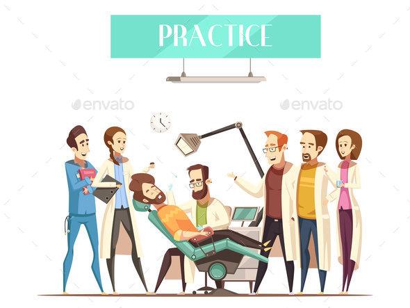 Dentist Practice Vector Illustration - Health/Medicine Conceptual