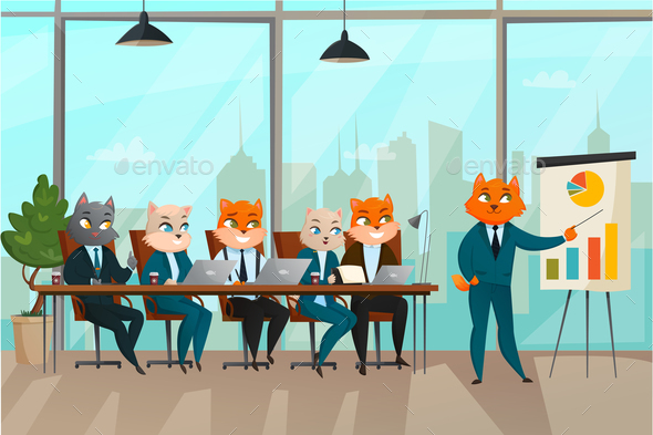 Business Cat Presentation Illustration - Animals Characters