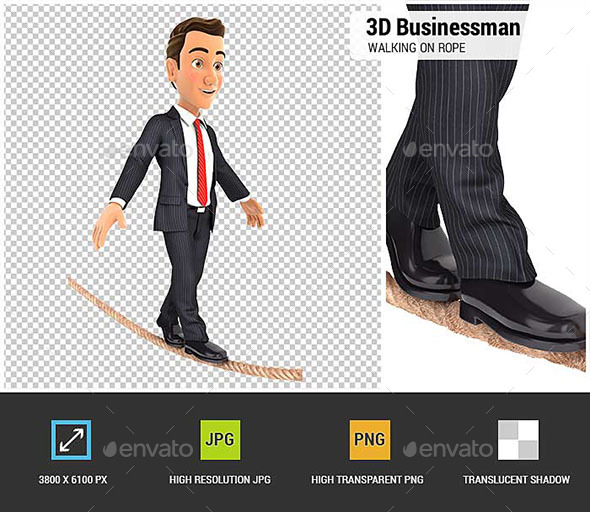 GraphicRiver 3D Businessman Walking on a Rope 20750291