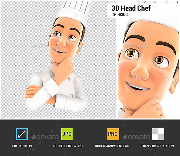 3D Head Chef Thinking - Characters 3D Renders