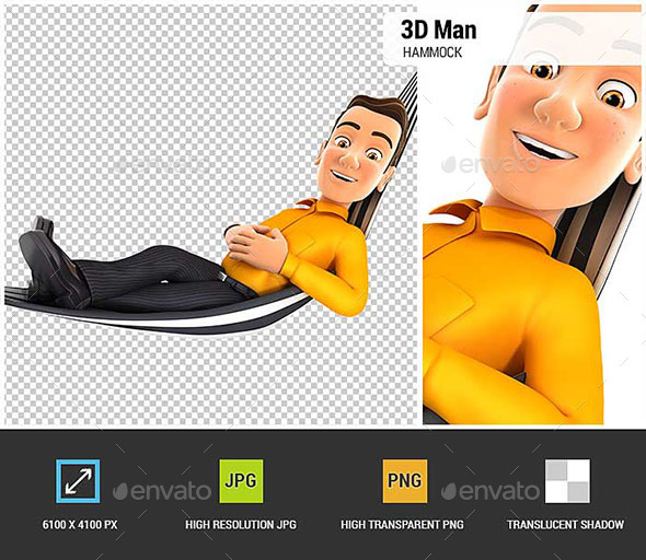 GraphicRiver 3D Man Relaxing in a Hammock 20750372