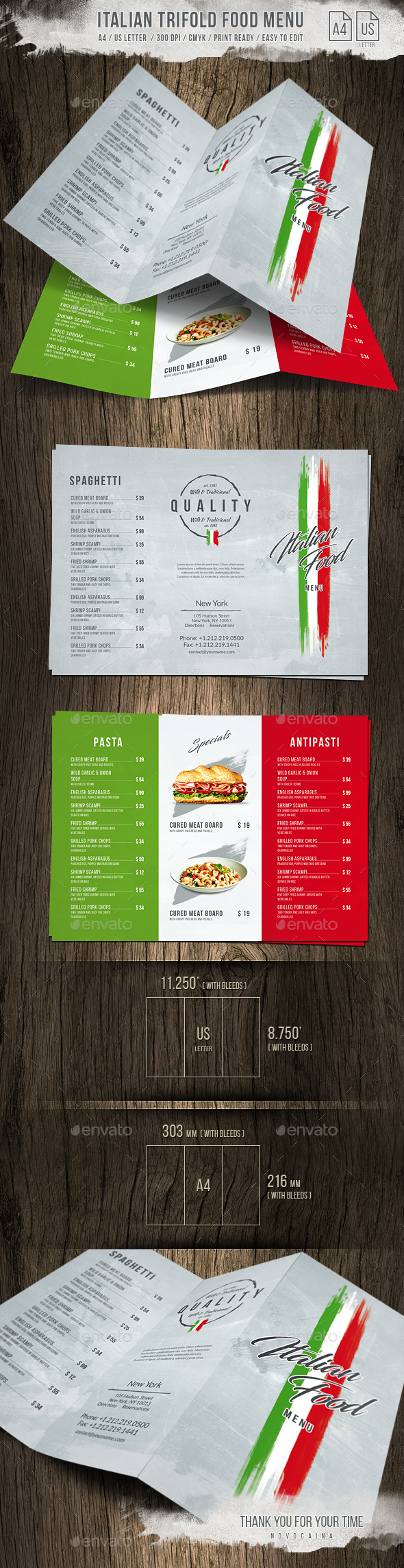 Italian Light A4 - US Letter Trifold Food Menu - Food Menus Print Templates