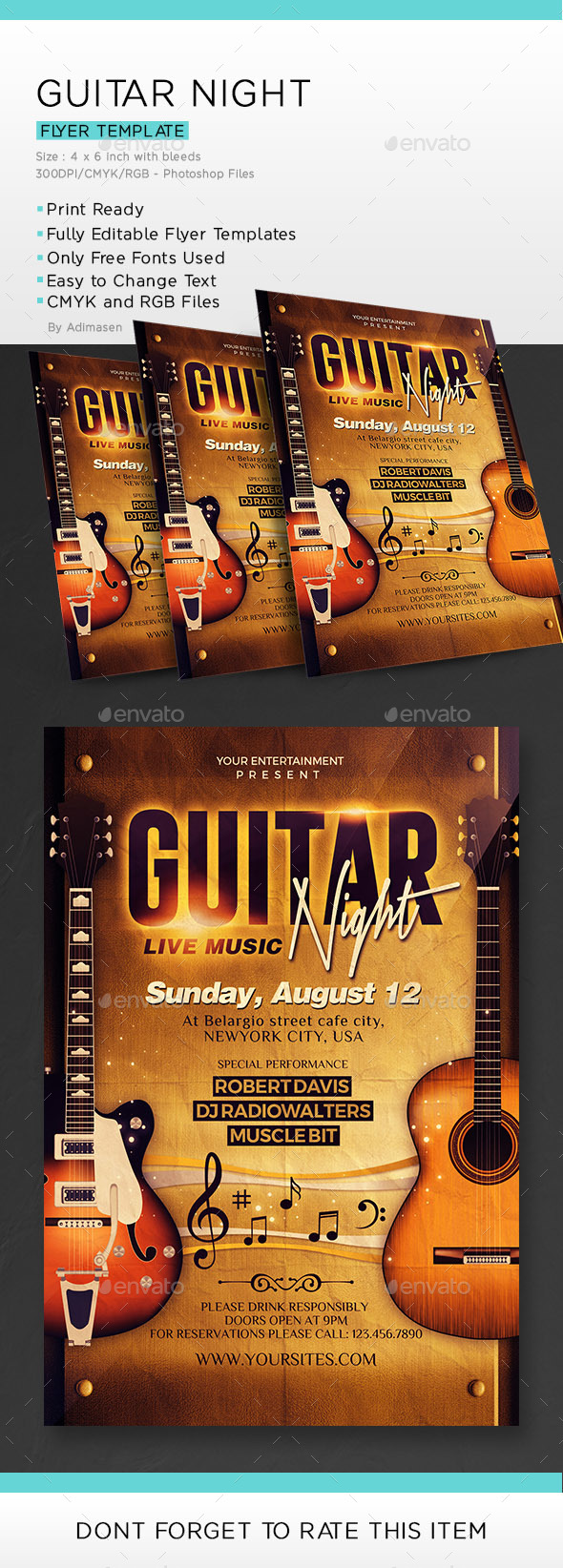 Guitar Night Flyer Template - Events Flyers