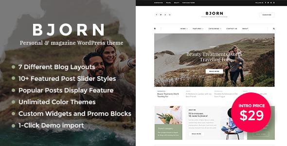 ThemeForest Bjorn Personal WordPress Blog Theme 20686531