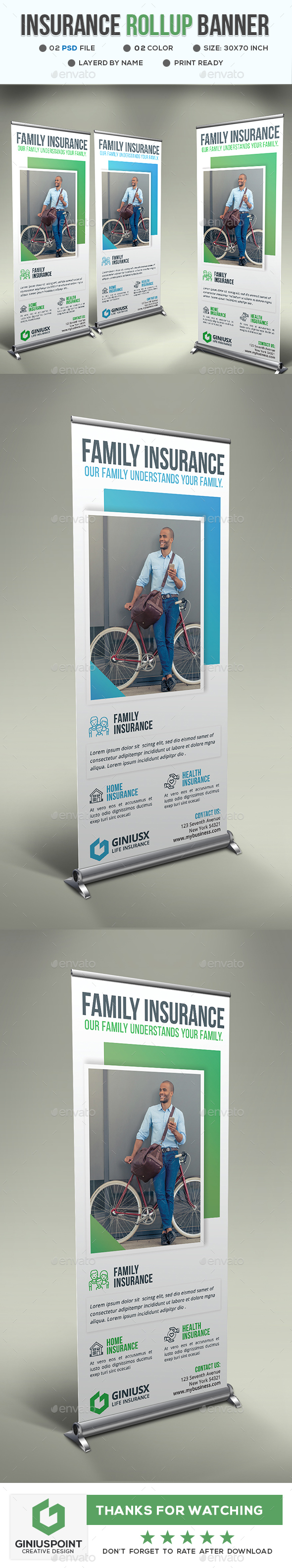 Insurance Roll-Up Banner - Signage Print Templates