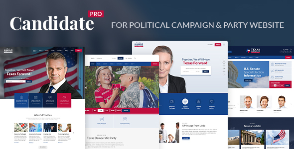 ThemeForest Candidate Pro Political Campaign Party Nonprofit HTML Template 20750795