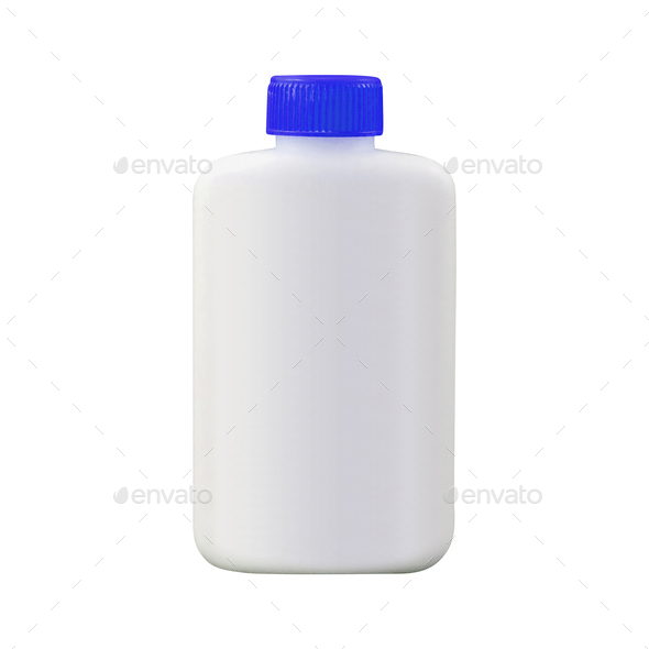Can of protein or gainer powder isolated on white background - Stock Photo - Images