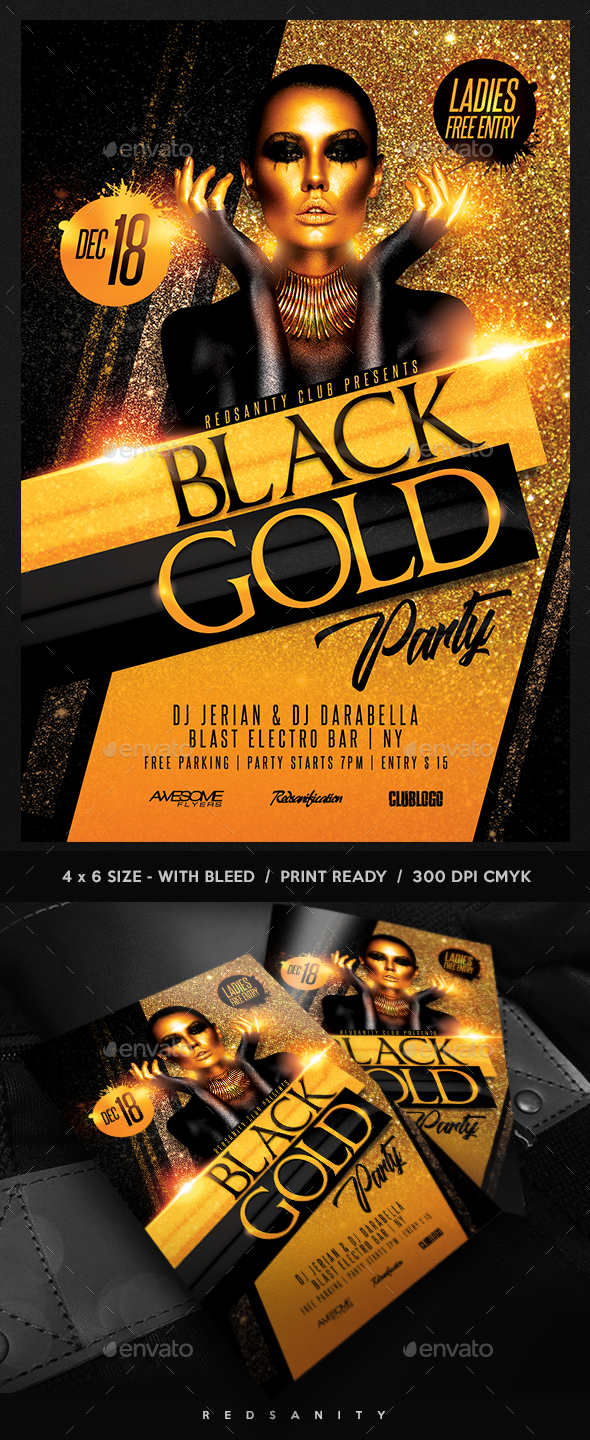 black gold party flyer by redsanity