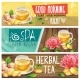 Relaxing Morning Herbal Tea Vector Banners Set