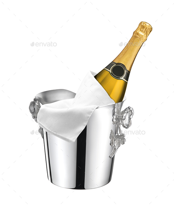 Champagne bottle in a bucket with ice - Stock Photo - Images