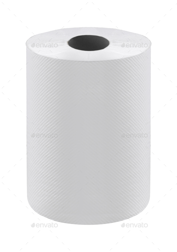 toilet paper isolated on white - Stock Photo - Images