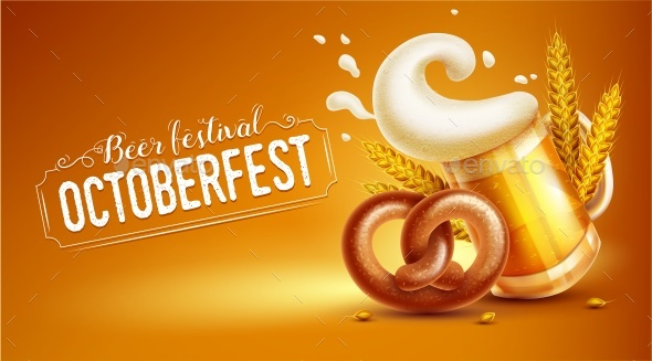 Octoberfest Festival Banner with Beer Pretzel and Wheat - Food Objects