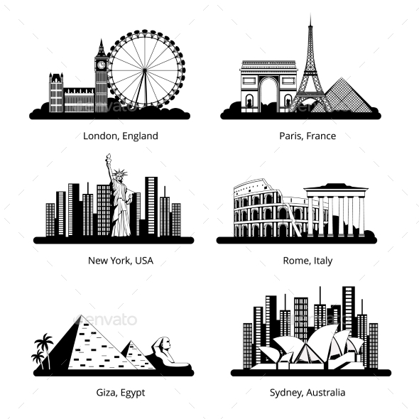 GraphicRiver Silhouette Set with Panoramas of Famous Cities 20751359