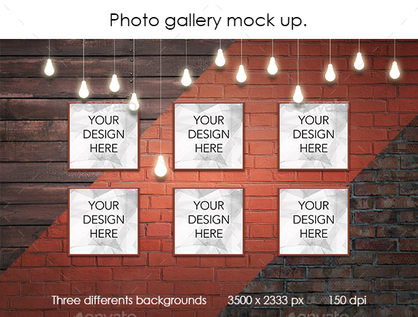 GraphicRiver Square Posters Exhibition Mock up 20751374