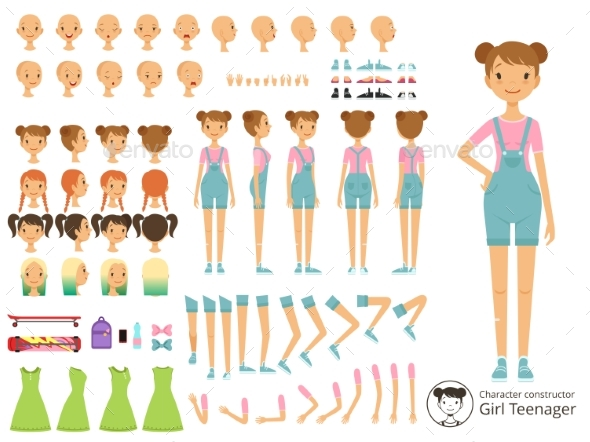 Young Smiling Girl Casual Style Mascot Creation Kit - People Characters