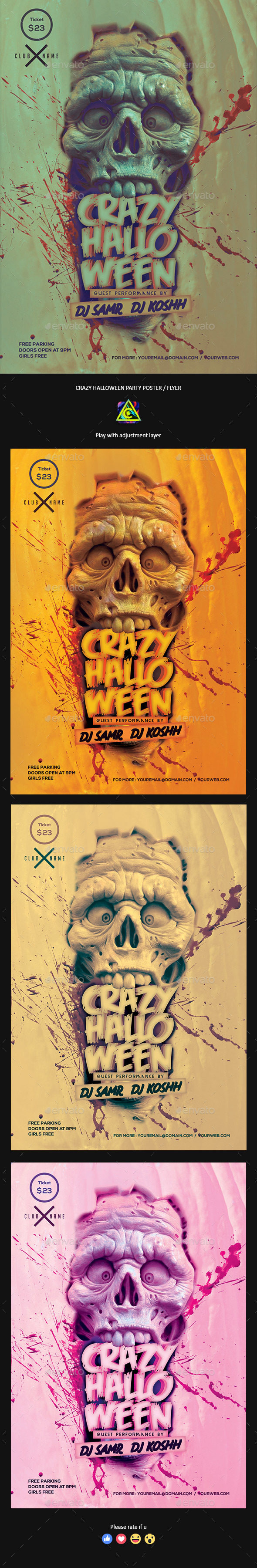 Crazy Halloween Party Poster / Flyer - Clubs & Parties Events