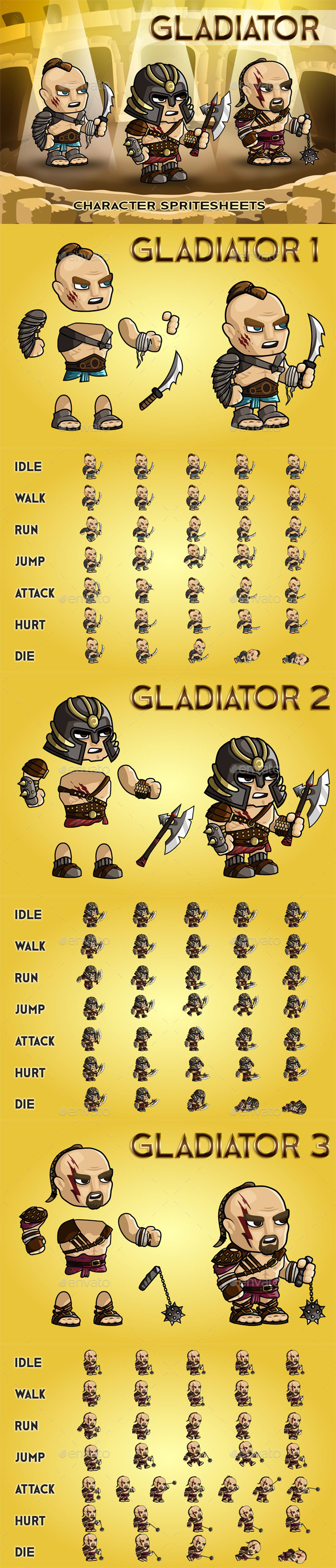 GraphicRiver Gladiator 2D Game Character Sprite Sheet 20751496