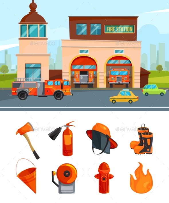 Municipal Building of Fire Station Services - Objects Vectors