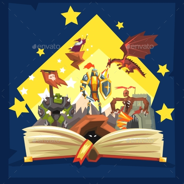 Open Book with Legend Fairytale Fantasy Book - Miscellaneous Vectors
