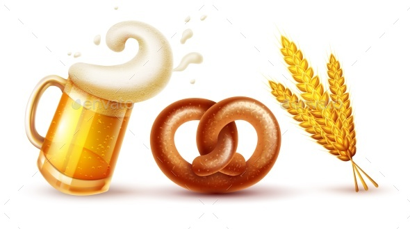 Octoberfest Symbols Beer Pretzel and Wheat - Food Objects