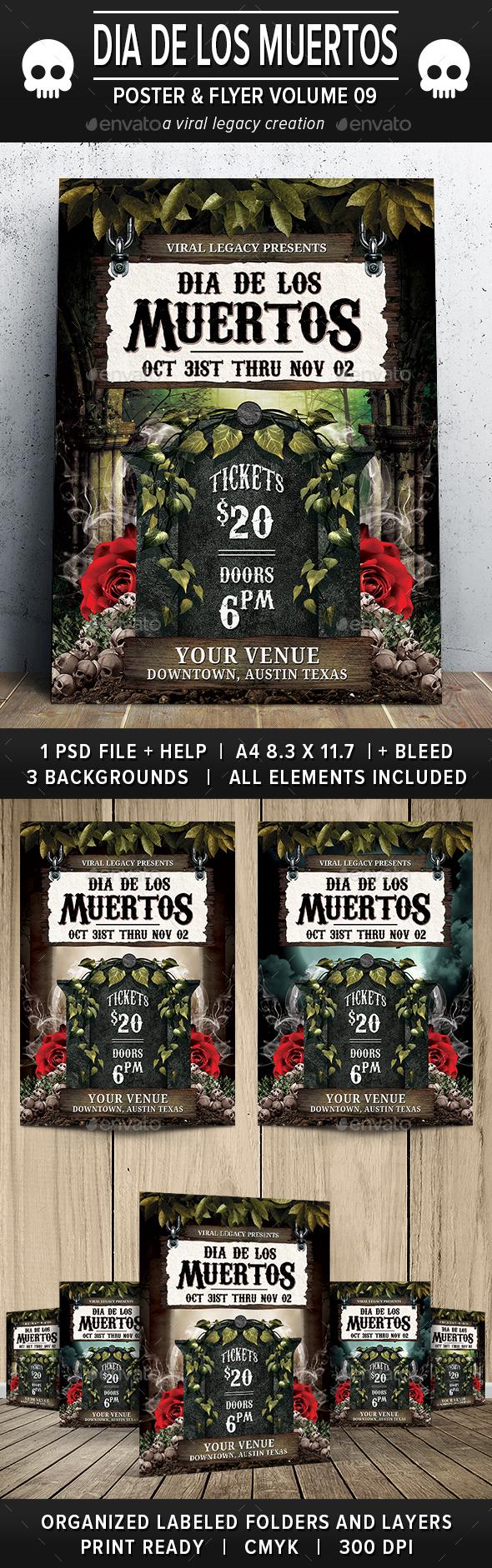 Dia De Los Muertos Poster / Flyer V09 - Flyers Print Templates