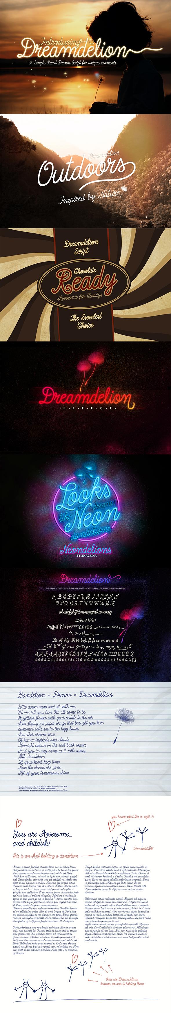 Dreamdelion Font - Hand-writing Script