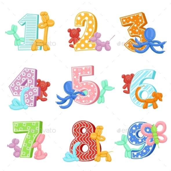 Inflatable Animals with Birthday Numbers - Miscellaneous Vectors