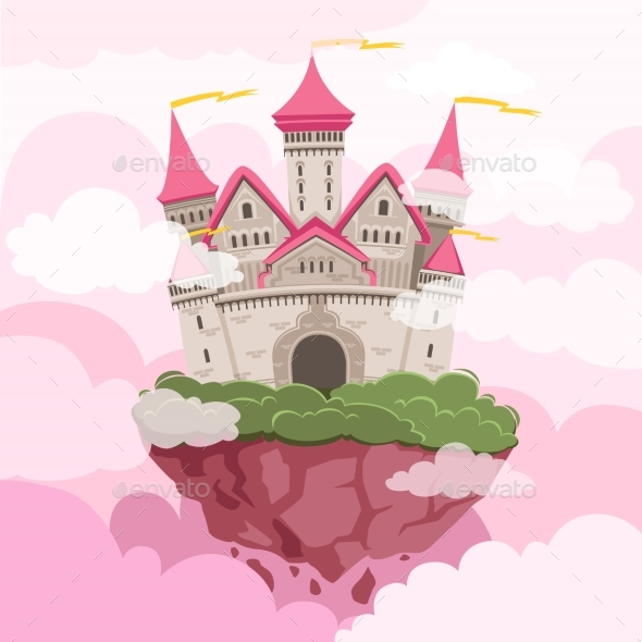 Fairytale Castle with Big Towers in the Sky - Buildings Objects