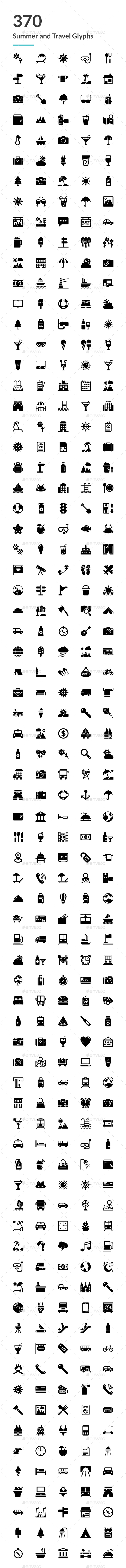 GraphicRiver 370 Summer and Travel Glyph Icons 20751616