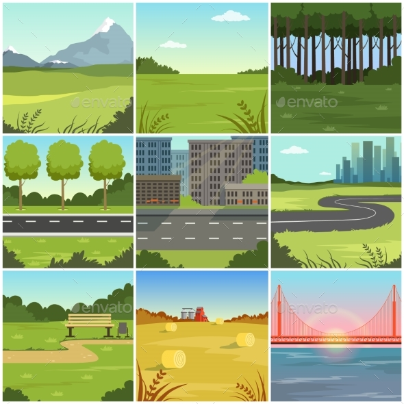 GraphicRiver Different Natural Summer Landscapes Set 20751624