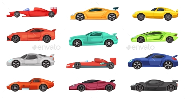 Different Sport Cars Isolated on White