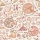 Seamless Pattern with Classical Italian Foods