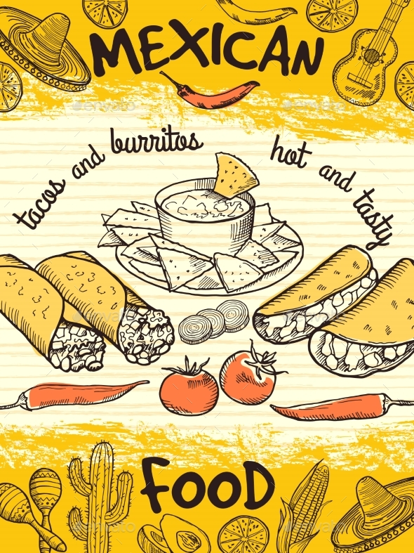 Design Template of Poster with Mexican Food - Food Objects