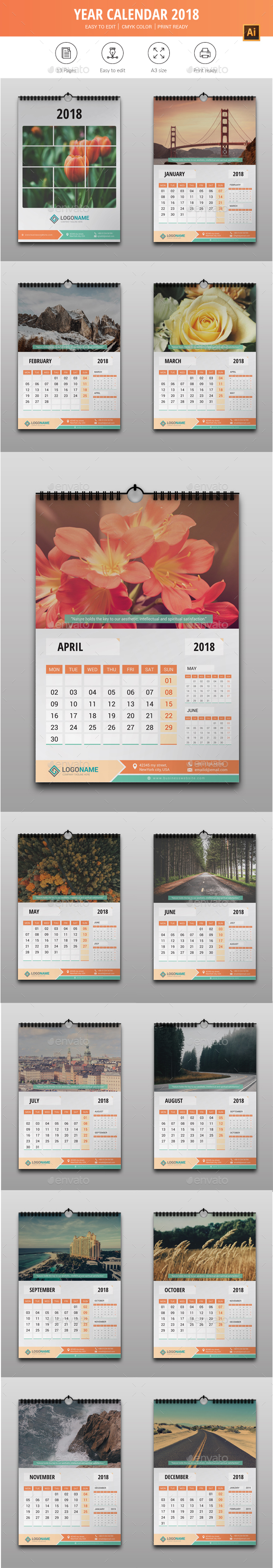 Year Calendar 2018 - Calendars Stationery