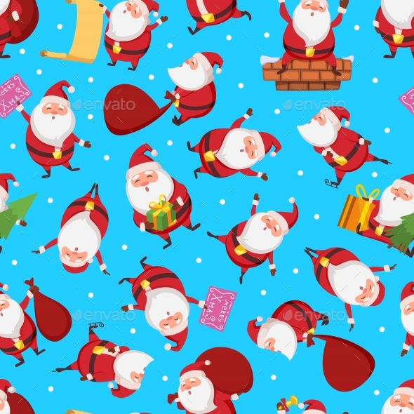 Christmas Seamless Pattern with Santa - Backgrounds Decorative