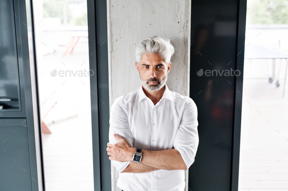 Mature businessman with gray hair in the office. - Stock Photo - Images
