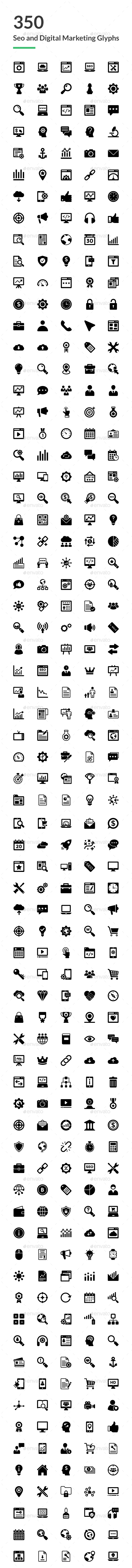 GraphicRiver 350 SEO and Digital Marketing Icons 20751861