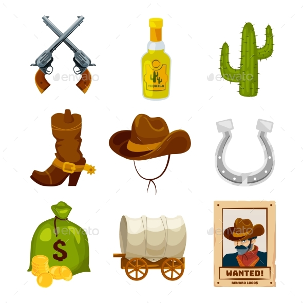Cartoon Icon Set for Wild West Theme. Vector - Objects Vectors