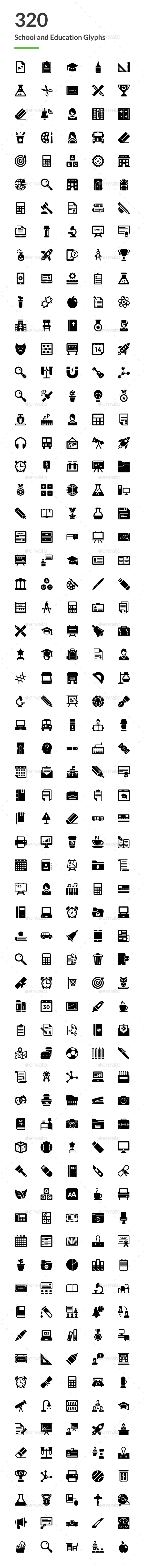 GraphicRiver 320 School and Education Glyph Icons 20751904