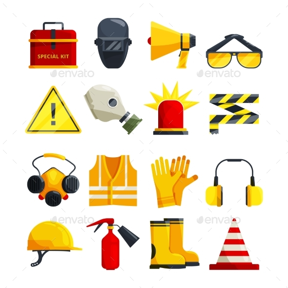 Protection Clothing for Work and Safety Equipment - Man-made Objects Objects