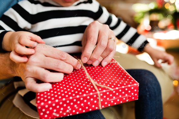 Unrecognizable little girl opening Christmas present. - Stock Photo - Images