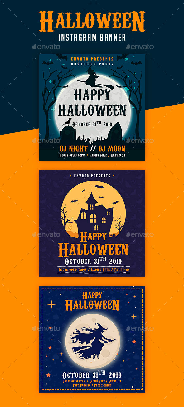 Halloween Instagram Banner - Banners & Ads Web Elements